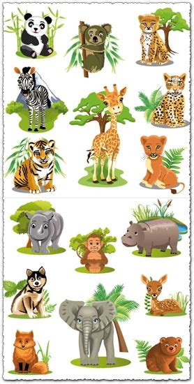Jungle animals cartoon vectors
