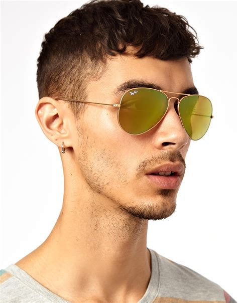 Lyst - Ray-ban Aviator Sunglasses in Yellow for Men