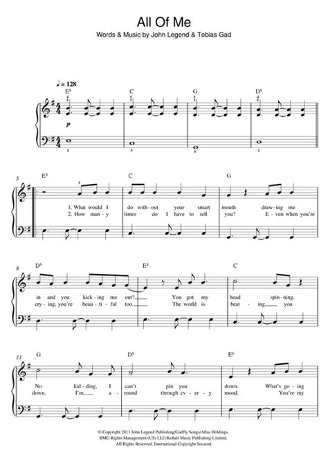 John Legend All Of Me 119442 in 2020 | Piano songs, Violin