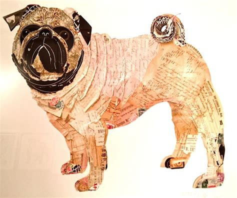 Adorable Dog Collages Made from Layers of Old Paper - My
