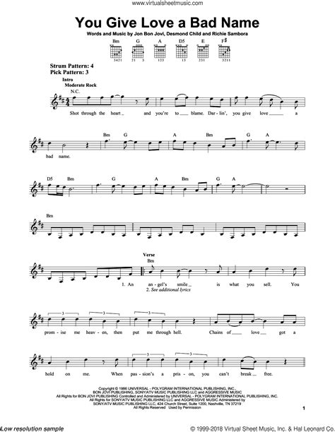 Jovi - You Give Love A Bad Name sheet music for guitar