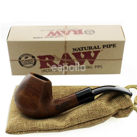 RAW Uncoated Wooden Smoking Pipe With Pouch | UK