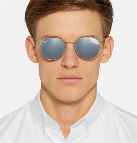 Ray-Ban Round-frame Silver-tone Mirrored Sunglasses in
